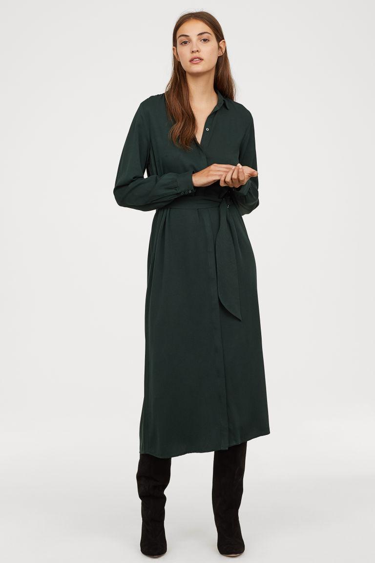 Calf-length shirt dress 29,99 € H&M что надеть в H&M